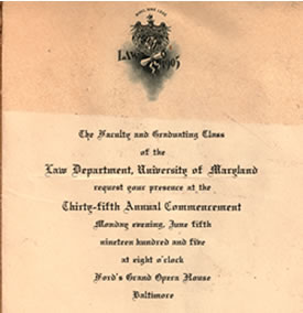 Invitation to 1905 law school commencement