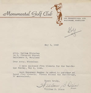 Tmll the legal papers of dallas nicholas and william gosnell may 3 1949 letter on monumental golf club letterhead from william dixon to dallas nicholas spiritdancerdesigns Images